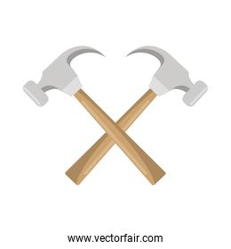 hammers construction tools crossed icons