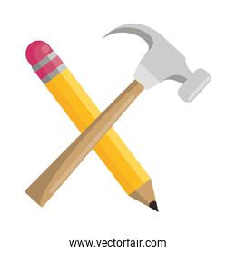 hammer construction tool with pencil crossed