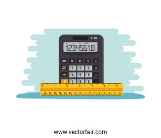 calculator math device with rule supplies