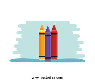 crayons school supplies isolated icons