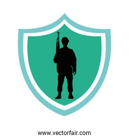 soldier military with rifle silhouette in shield