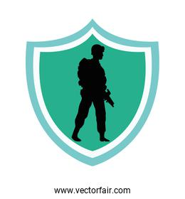 soldier military standing silhouette in shield