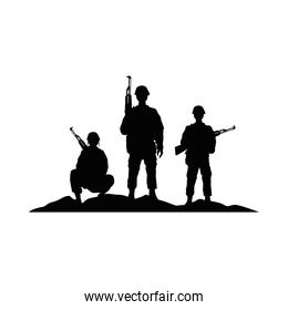 three soldiers military silhouettes style icons