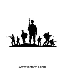 group of soldiers military silhouettes figures