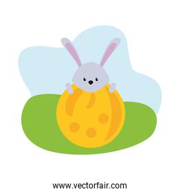 cute rabbit easter season character with egg in camp