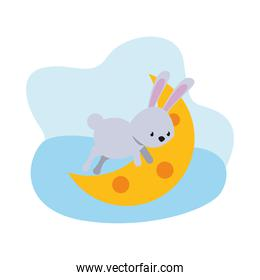 cute rabbit with moon easter season character