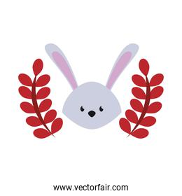 cute rabbit easter season character with wreath leafs