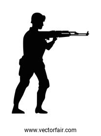 soldier military with rifle silhouette figure