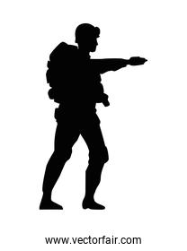 soldier military standing silhouette figure