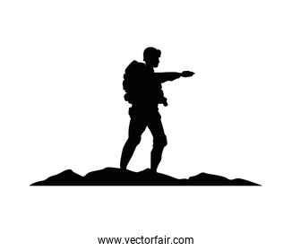 soldier military standing silhouette in camp