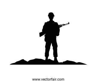 soldier military with rifle silhouette in camp