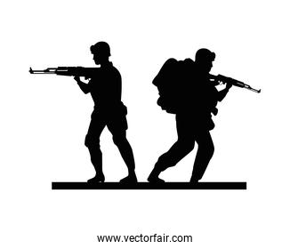 two soldiers military silhouettes figures