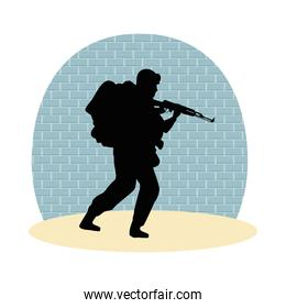 soldier military with rifle silhouette with wall background
