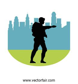 soldier military standing silhouette with cityscape background