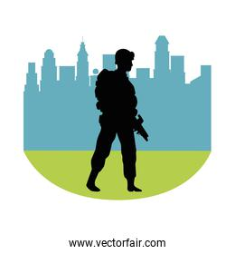 soldier military with rifle silhouette in cityscape background
