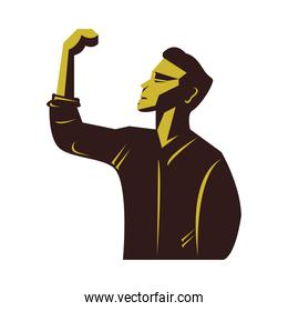 strong man celebrating wielding the hand