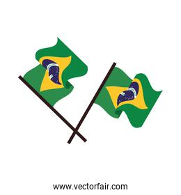 brazil flags crossed country isolated icon