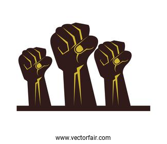 strong hands fist isolated icons