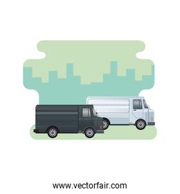 black vans vehicles transport isolated icons