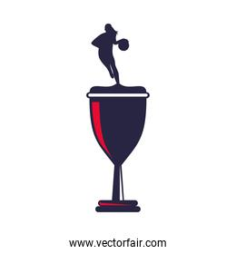 trophy cup with athletic woman practicing basketball sport silhouette
