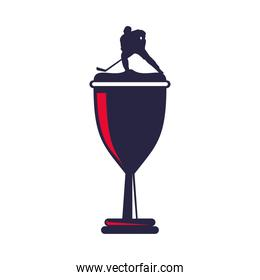 trophy cup with athletic man practicing hockey sport silhouette