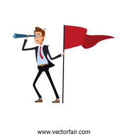 elegant businessman with telescope and success flag comic character icon