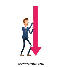 elegant businessman with arrow down comic character