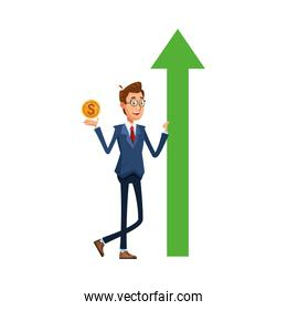 elegant businessman with arrow up and coin comic character icon