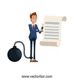 elegant businessman with slave fetter and document comic character