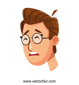 young man sad with eyeglasses character