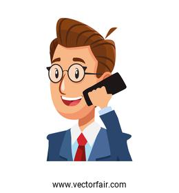 elegant businessman calling with smartphone comic character icon