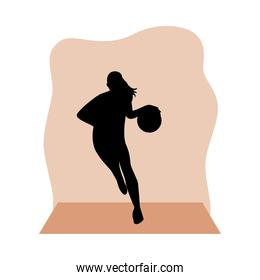 athletic woman practicing basketball sport silhouette