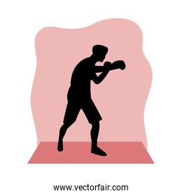athletic man practicing boxing sport silhouette
