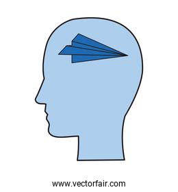 head profile with paper airplane flying