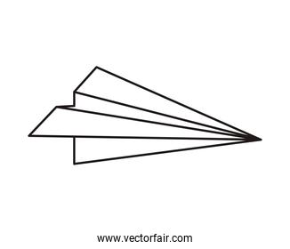 paper airplane flying isolated icon
