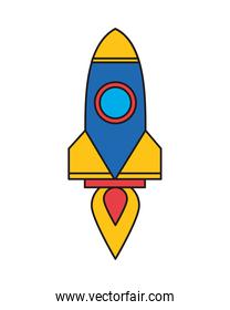 blue and yellow rocket launcher startup