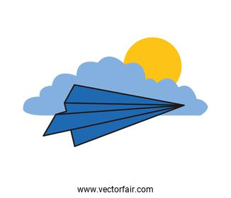 paper airplane flying with cloud and sun