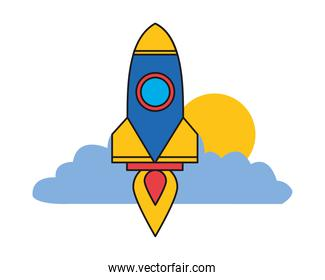 rocket launcher startup with clouds and sun