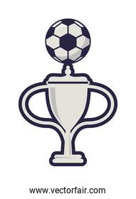 trophy cup with soccer sport balloon