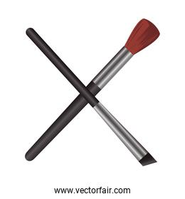 make up brushes crossed elements icons
