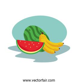 watermelon and bananas fresh delicious fruits isolated style icon