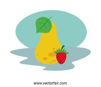 pear and strawberry fresh delicious fruits