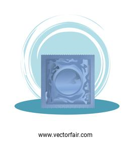 blue condom contraceptive product isolated icon
