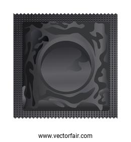 black condom contraceptive product isolated icon