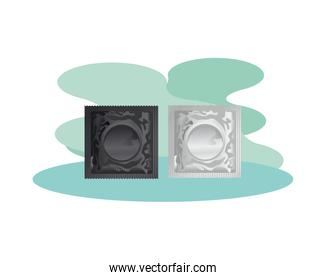 condoms contraceptive products isolated icons