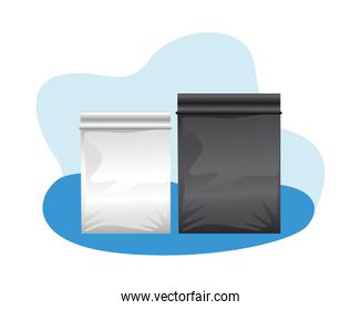 set packing bags products icons