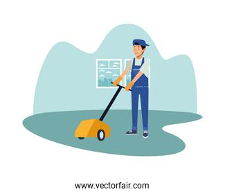 housekeeping male worker with Electric Floor Shine