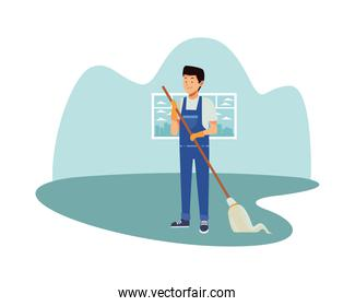 housekeeping male worker with mop tool