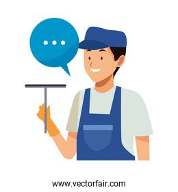 housekeeping male worker with clean glass brush and speech bubble