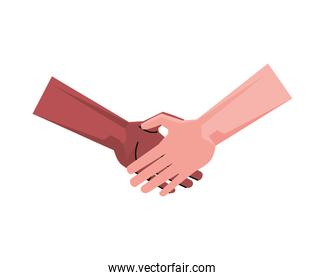 handshake diversity greeting isolated icon